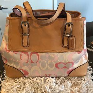 "Authentic Coach leather trimmed ""C Logo"" Bag"